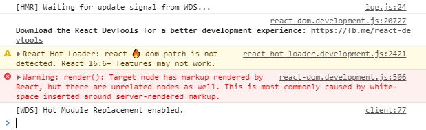 解决处理在React中的警告Warning: render(): Target node has markup rendered by React...